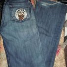 Juniors Womens Rock & Republic Straight Leg Blue Denim jeans size 25