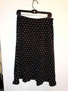 Evan Picone 100% silk black/white polka dot skirt size 8