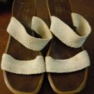 Womens beige fabric Vertan slip on sandals size 7.5M made in Italy
