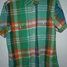Boys Express Green Plaid Short mad shirt size L
