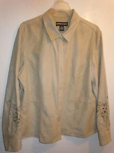 Norton McNaughton Beige faux suede thick buton front long sleeve top shirt Plus