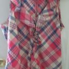 Juniors LRL Ralph Lauren Jeans Co. Pink plaid blouse size M
