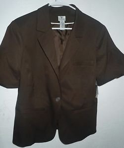 Womens Worthington Stretch Chocolate Brown Pinstriped jacket Plus size 18 NWT