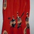 Womens Indian boho gypsy red maxi skirt elastic waist size L