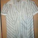 Ann Taylor Loft white striped button front short sleeve top blouse shirt size L