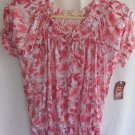Womens Faded Glory Pink/Orange Floral Top Shirt Size S (4-6) NWT