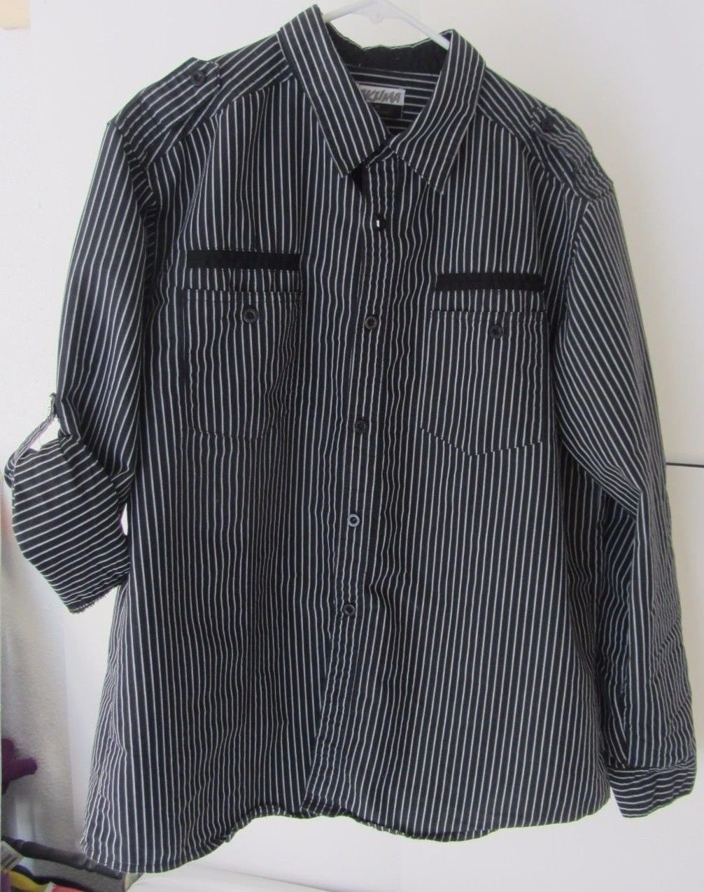 Mens Black/White Striped Akuma Button Front Long Sleeve Shirt Size XL