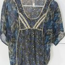 Womens Xhilaration Blue Floral Sheer Blouse Top Size S