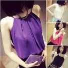 Womens Summer Loose Casual Chiffon Sleeveless Shirt Top Blouse Size M Purple