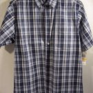 Mens Club Room Blue Plaid Short Sleeve Button Down Shirt Size S NWT