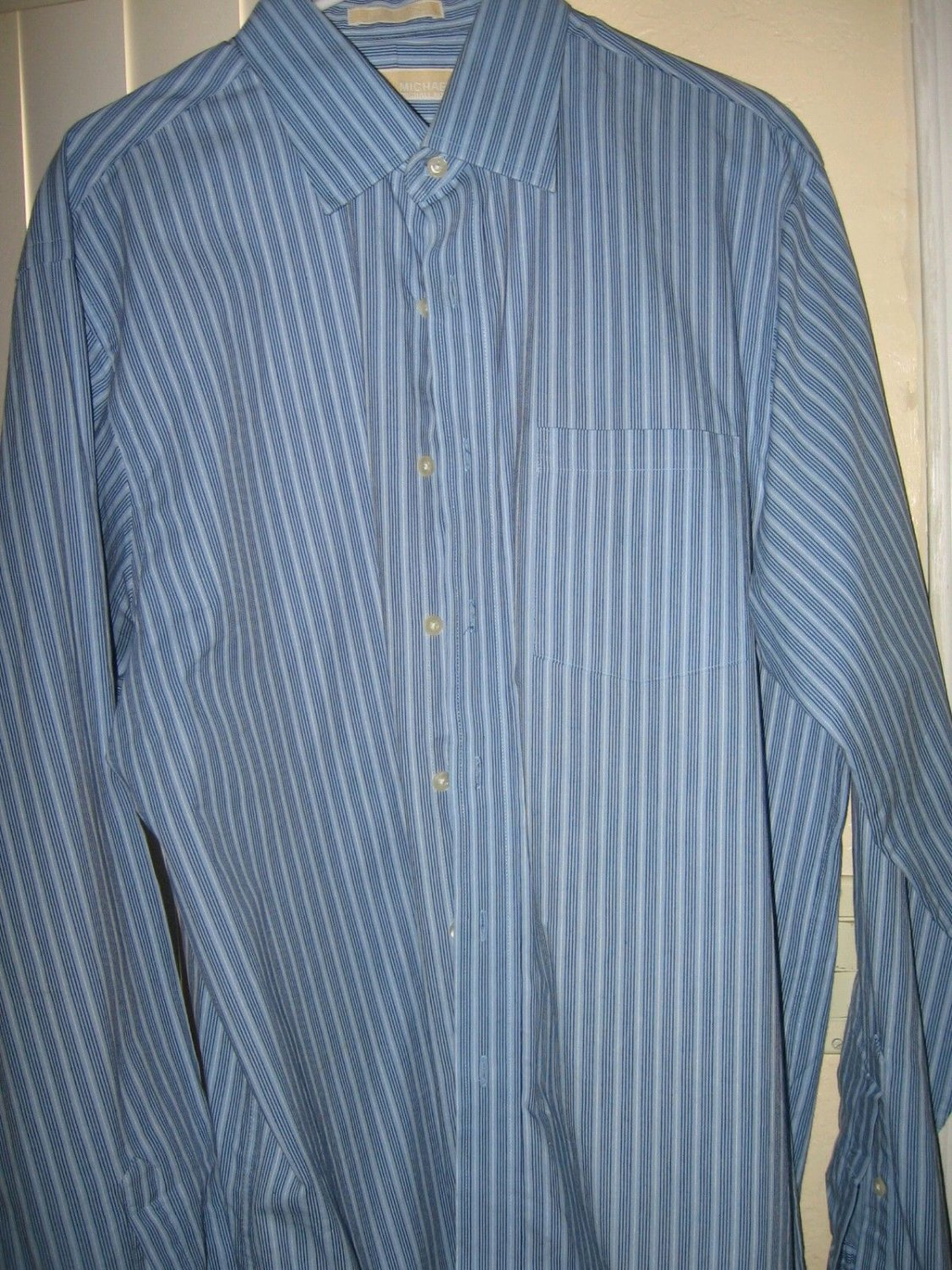 Michael Kors Mens Blue Button Down Regular Fit Dress Shirt Size L 16 1/2