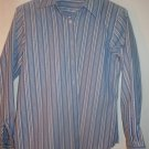 Womens Blue Striped Foxcroft Button Down Wrinkle Free Shirt Size 4P