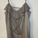 Womens Xhilaration black/ivory striped adj spaghetti strap tank blouse size L