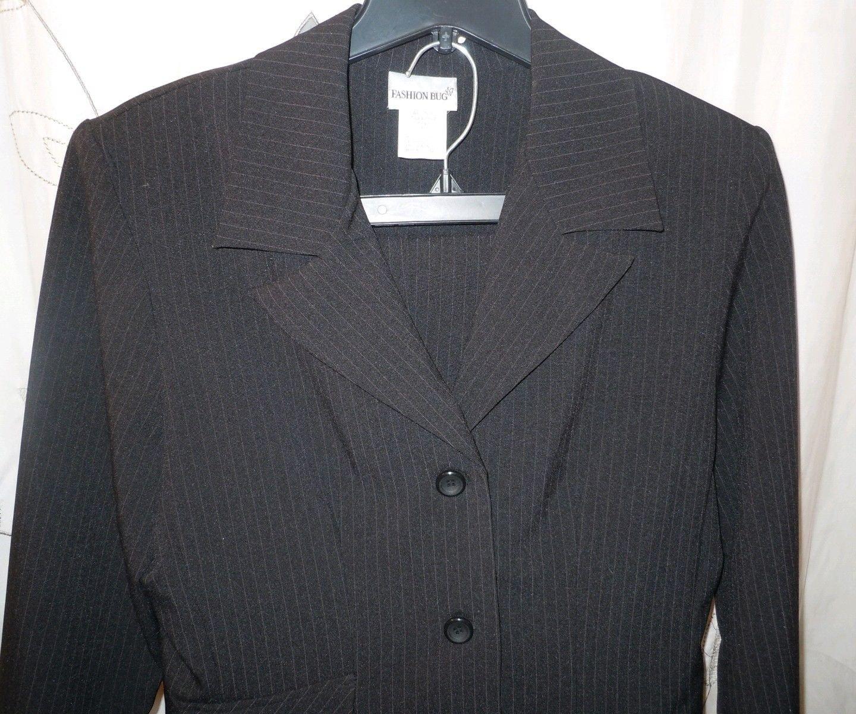 Juniors Fashion Bug 3 pc set black pin stripe pant skirt jacket suit size 11/12