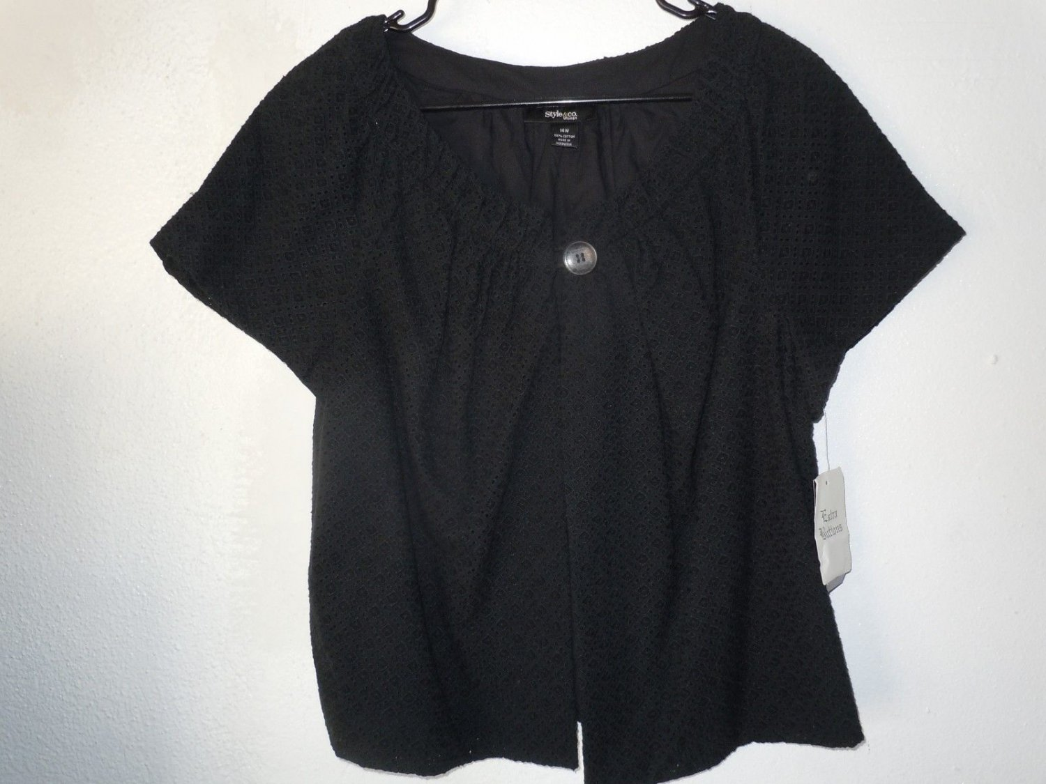 Womens Style & Co. Stretch Over Blouse With Button Black Size XL NWT MSRP $109.