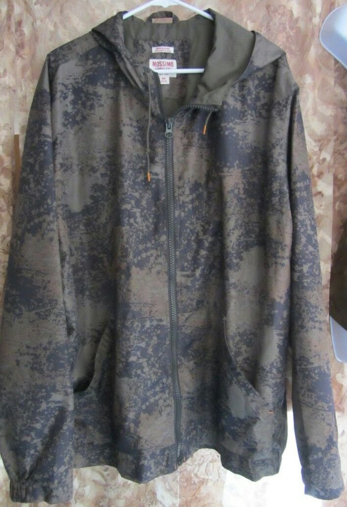 Mens Mossimo Camo Water Resistant Hooded Windbreaker Jacket Size XXL