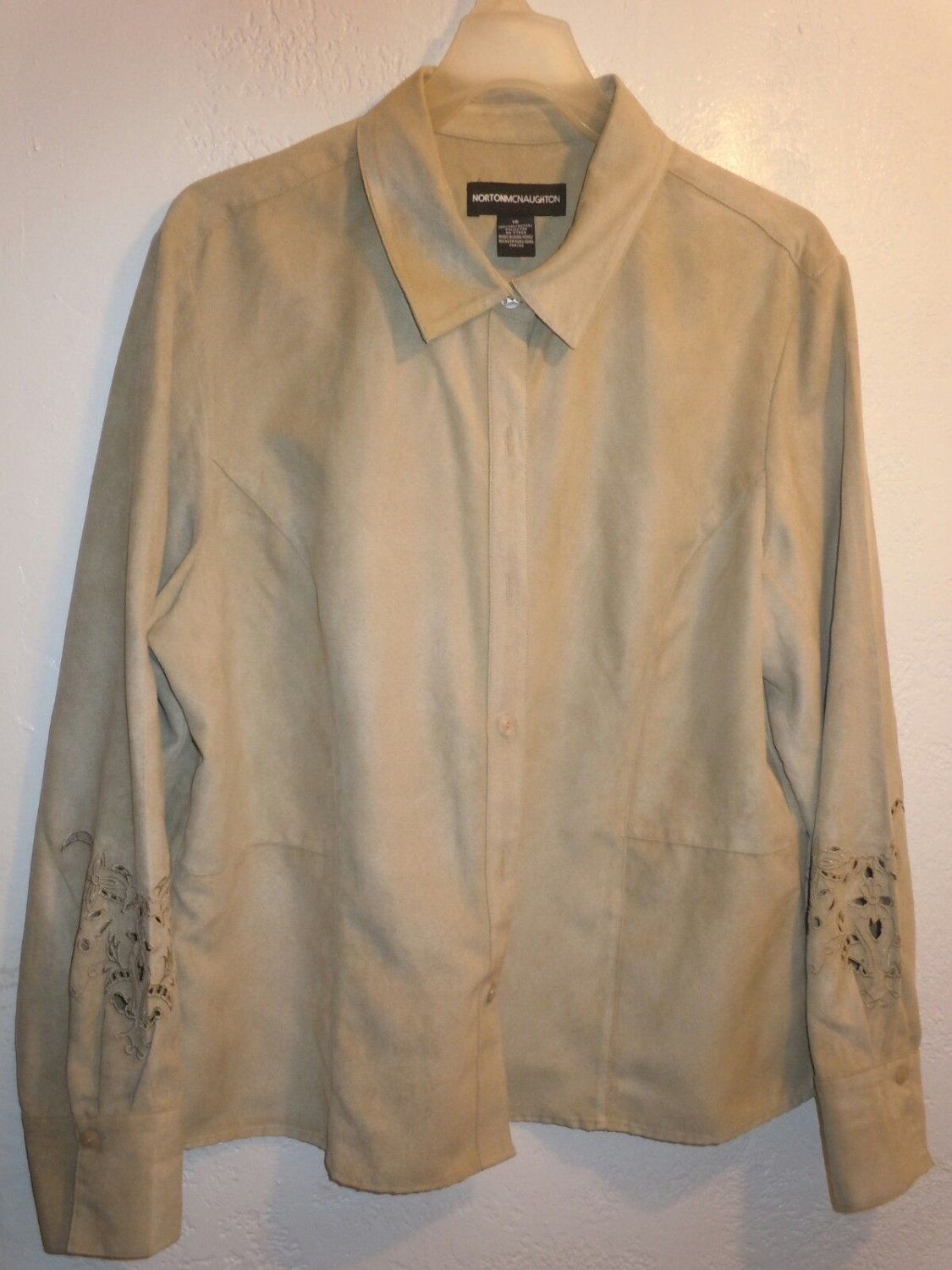 Womens Norton McNaughton Beige button front long sleeve shirt Size 16