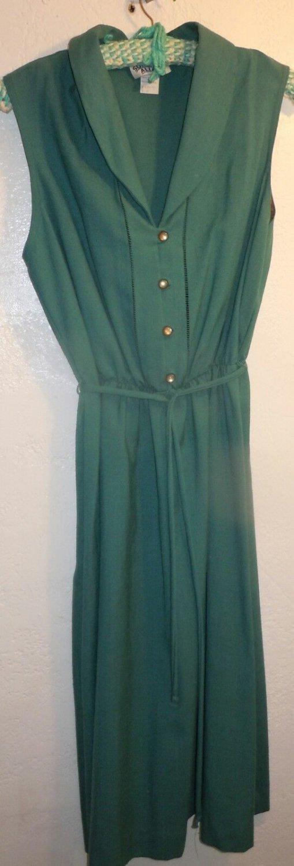 Vintage Womens Sunshine Alley Teal Green Dress Size 16