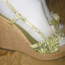 Womens Rebels green Hawaiian floral wicker wedge platform sandals size 7