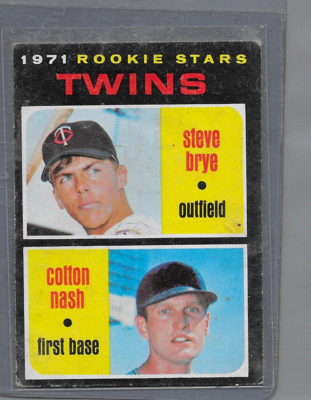 1971 Topps #391 Baseball Card Cotton Nash / Steve Brye Twins Rookies Twins