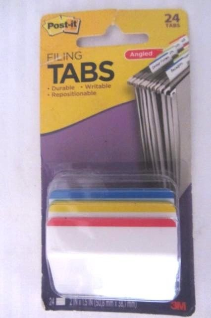 """Post-It Durable Filing Tabs 2""""X1.5"""" 24/Pkg Assorted Primary Colors 686A-1"""