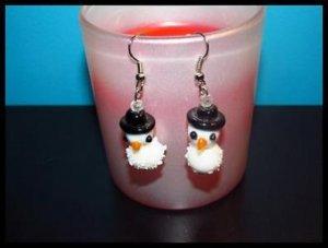 Delightful Roly-Poly Snowmen Pierced Earrings Winter/Holiday NEW