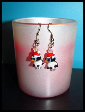 Adorable Santa Penguins Pierced Earrings Winter/Holiday NEW