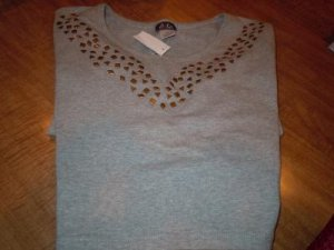 Misses Gray Studded Crop Top Sz XL NEW