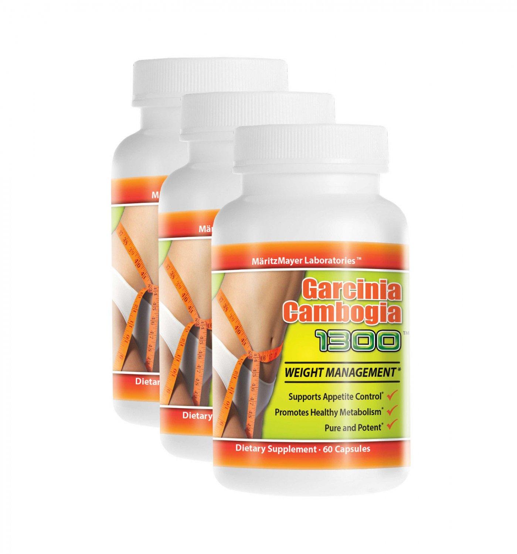 3 Bottles Garcinia Cambogia Extract 1300mg Potassium Calcium 60% HCA Weight Loss