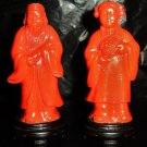 Couple of oriental vintage figures, made in Hong Kong, man and woman