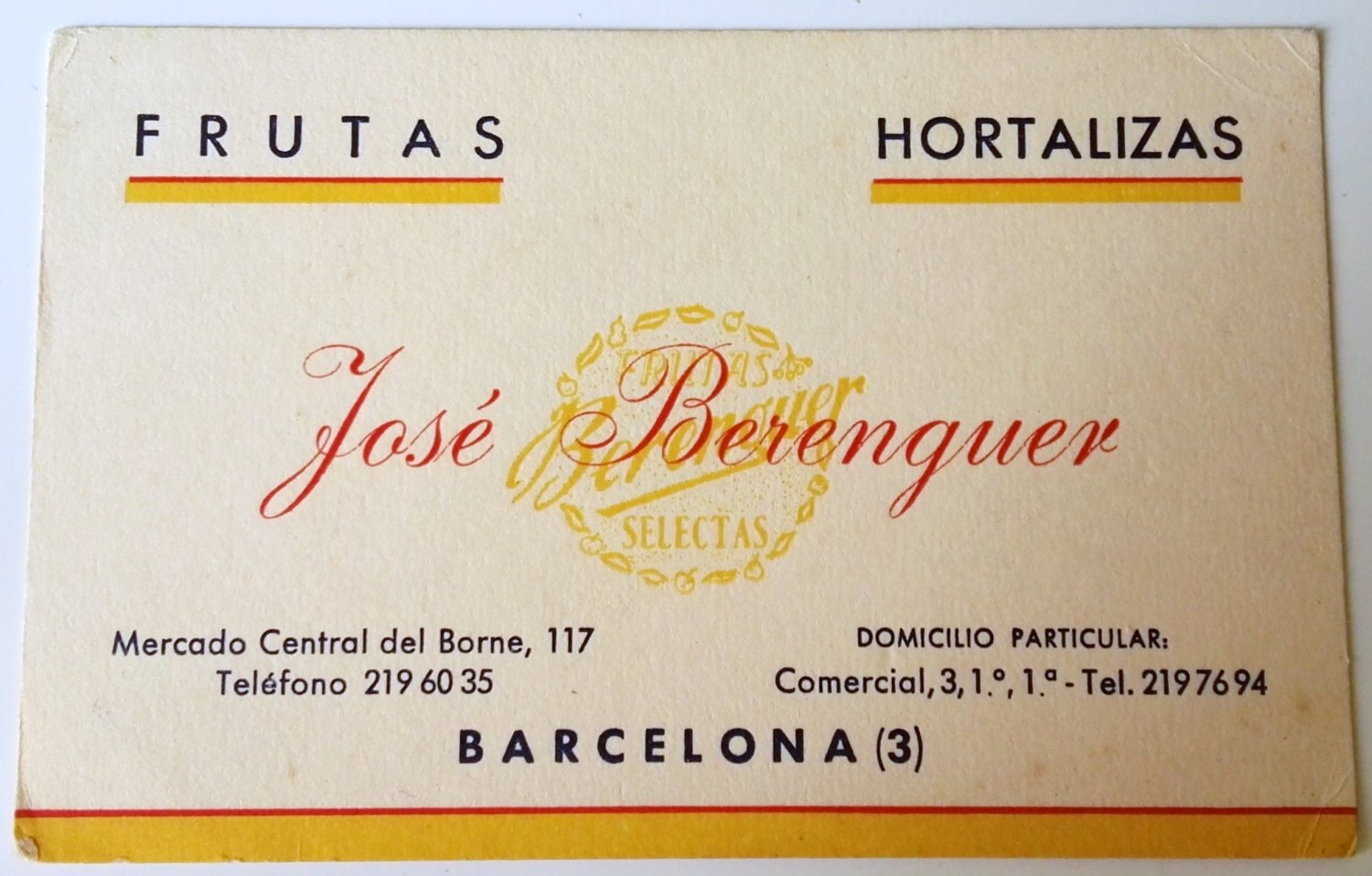 Old advertising of fruits and vegetables José Berenguer - Barcelona, Spain