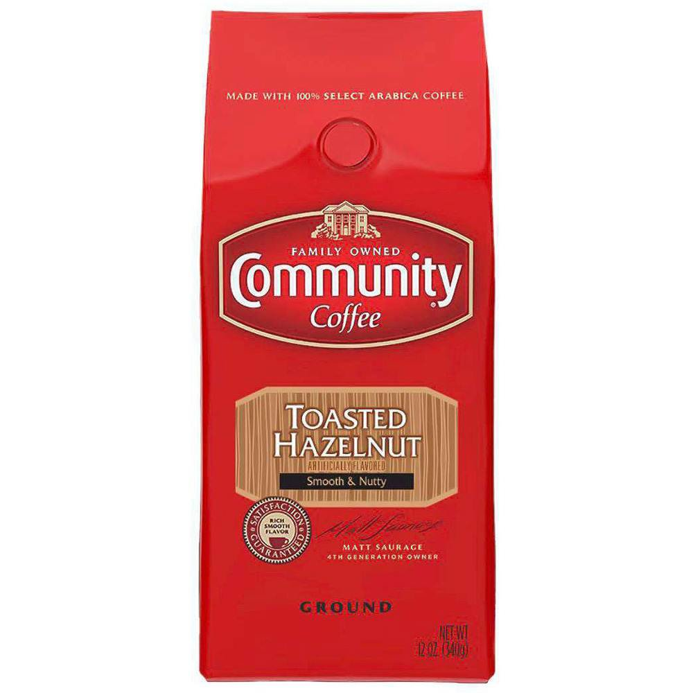 Community Ground Coffee Toasted Hazelnut Flavored Roast 12 oz drink beverage