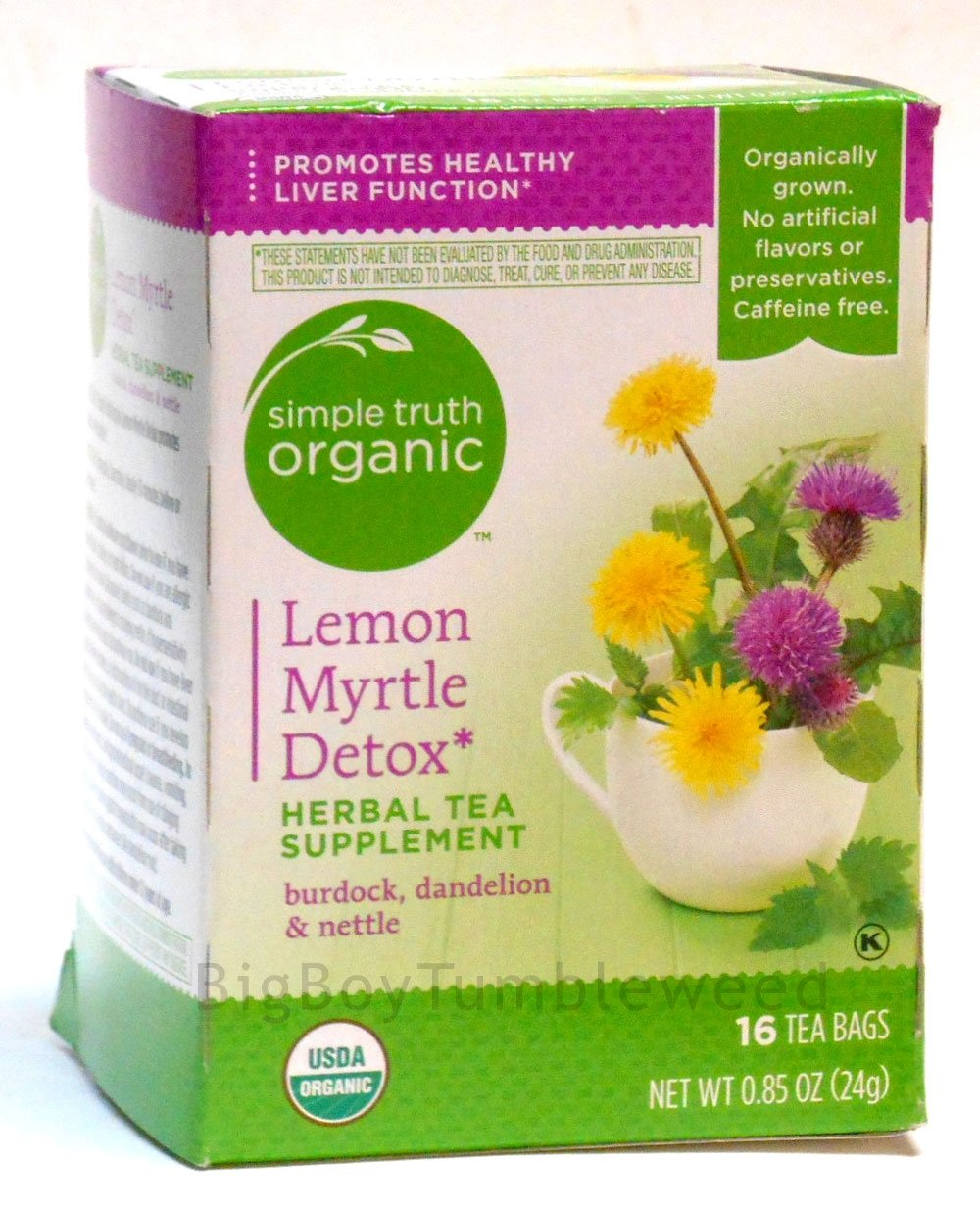 Simple Truth Tea Lemon Myrtle Detox herbal supplement TEA 16 bags burdock dandelion