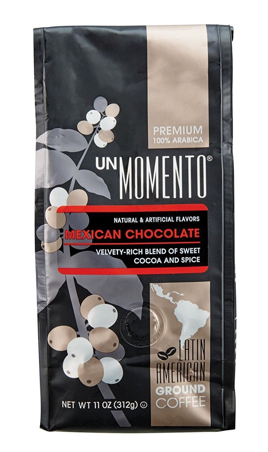 Un Momento Mexican Chocolate Ground flavored Coffee 11 oz cinnamon spice drink beverage Gourmet