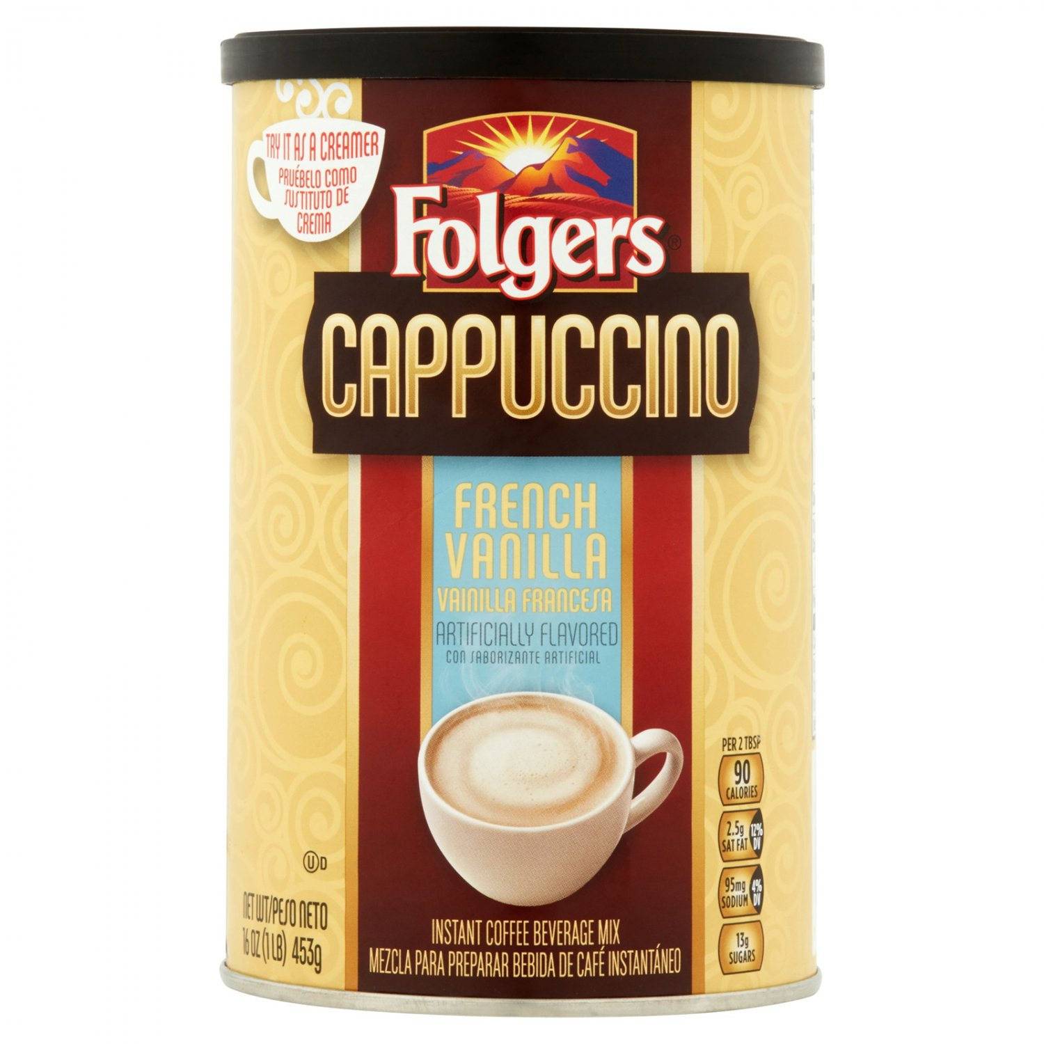 Folgers Cappuccino 16 oz French Vanilla coffee drink mix hot beverage latte snack beverage