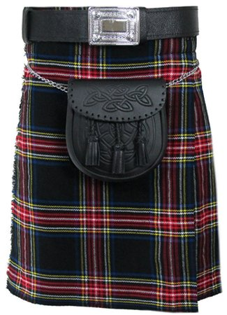 30 Size Tartan Kilt, Mens Black Stewart 5 Yard Acrylic Scottish Tartan Kilt