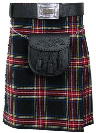 44 Size Tartan Kilt, Mens Black Stewart 5 Yard Acrylic Scottish Tartan Kilt