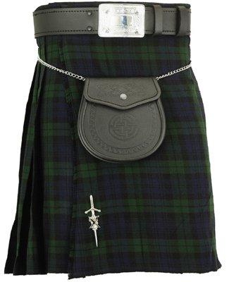 42 Size Black watch traditional tartan kilt highland acrylic skirt