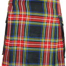 44 Waist New Traditional Handmade Cargo Pockets Black Stewart Tartan Modern Utility Pocket Kilts