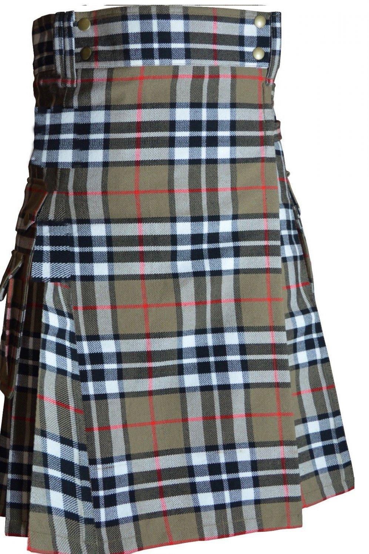 46 Size Scottish Highlander Active Men Modern Pocket Camel Thompson Tartan Kilts