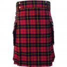 New 30 Size Scottish Highland Wallace Tartan Modern Utility Pocket Active Men New Kilt