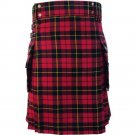 New 54 Size Scottish Highland Wallace Tartan Modern Utility Pocket Active Men New Kilt