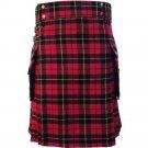 New 56 Size Scottish Highland Wallace Tartan Modern Utility Pocket Active Men New Kilt