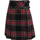 30 Size New Ladies Black Stewart Tartan Knee Length Scottish Billie Kilt Mod Skirt