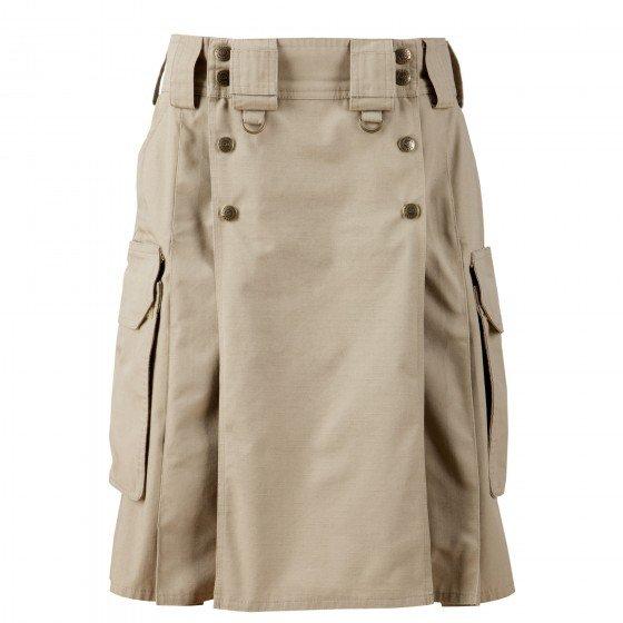 32 Size Modern Pockets Khaki Tactical Style Kilt, Traditional Tactical Duty Utility Cotton Kilt