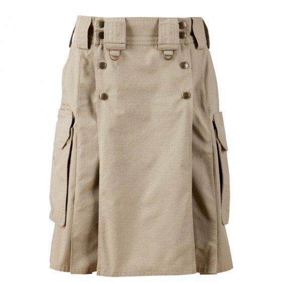 54 Size Modern Pockets Khaki Tactical Style Kilt, Traditional Tactical Duty Utility Cotton Kilt