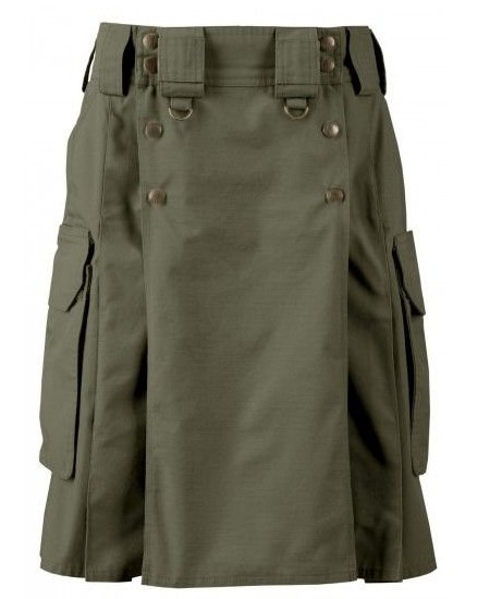 34 Size Cargo Pockets Olive Green Tactical Style Kilt, Traditional Tactical Duty Utility Cotton Kilt