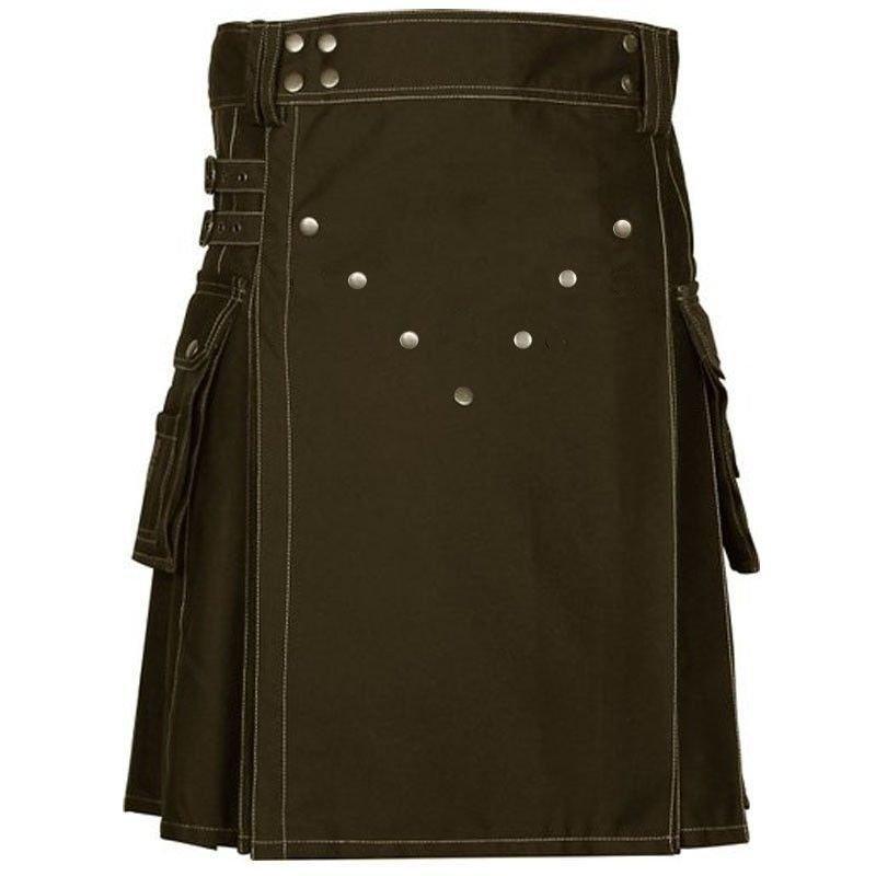 "44"" Size Scottish Choco Brown Utility Kilt, Modern Unisex Cotton Kilt Highland Cargo Pockets Kilt"