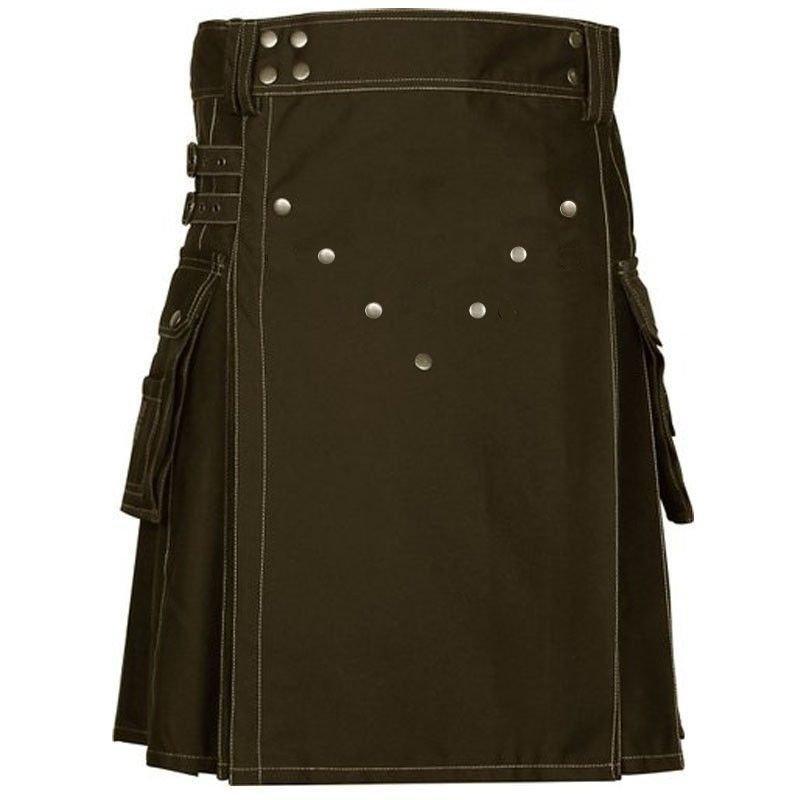 "52"" Size Scottish Choco Brown Utility Kilt, Modern Unisex Cotton Kilt Highland Cargo Pockets Kilt"