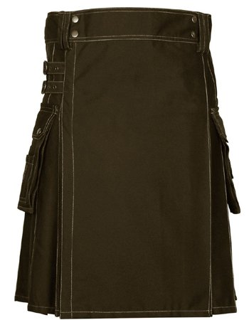 60 Size Scottish Choco Brown Utility Kilt, Modern Unisex Cotton Kilt Highland Cargo Pockets Kilt